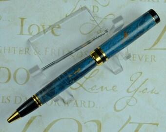 Blue Curly Maple Ballpoint  Ladies Gift Mens Gift Anniversary or Birthday Gift Groomsman Gift #152