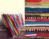 Crocheted hooded striped baby blanket colourful green pink blue red