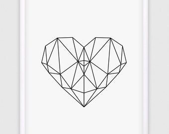 Geometric Heart Print Geometric Triangle Art Triangle Print