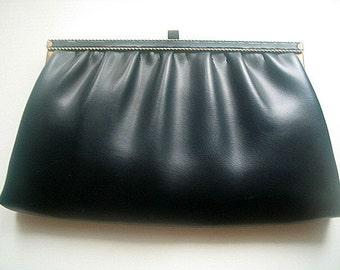 Retro Faux Leather Handbag or Clutch Purse Adjustable Dark Navy Blue