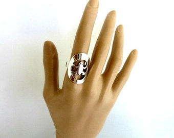 Silver Plate Carved Aztec Ring