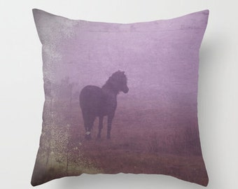 purple pillow cover, purple horse, horse pillow, horse home decor, equine decor, purple, mauve, lilac, heather