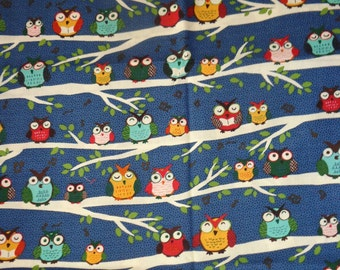 32 Inch Navy Blue Owls in Trees Fabric Remnant