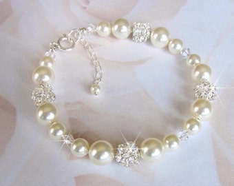 Bridal Bracelet, Pearl and Crystal Pearl Bracelet, Pearl and Rhinestone Bracelet, Bride, Bridesmaid Bracelet Wedding Jewelry Sterling Silver