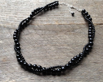 Black Pearl Necklace Bridal Necklace Two Strand Twisted Clusters on Silver or Gold Chain