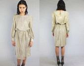 Vtg 70s Gold Metallic Pleated Pouf Glam Midi Maxi Dress M L