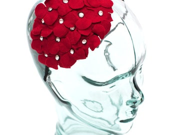 Headband accented with a felt flower and jewels, color Scarlet