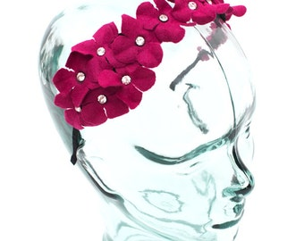 Headband accented with a felt flower and jewels, color Fuschia