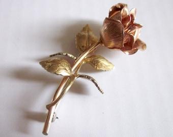 Vintage KREMENTZ 14Kt Gold  Rose Brooch Jewelry