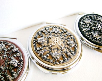 Free Gift Wrap-FOUR Set of 4-Personalized Bridesmaids Gifts Wedding Party- Set of 4 Compact Mirrors