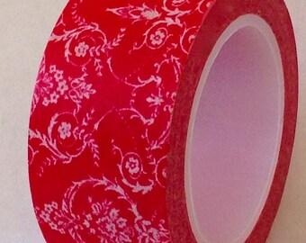 """SALE Washi Tape """"Damask"""" in Poppy  20mm wide"""