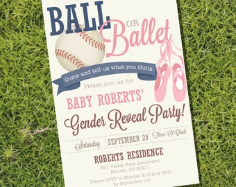 Ball or Ballet Gender Reveal Party Invitation - Baseball or Ballet - Instant Download and Editable File - Personalize with Adobe Reader
