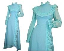 Maxi Dress 70s Prom Dress Prairie Style Powder Blue Hippie Wedding Dress S