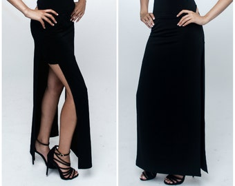 Made to order / Maxi skirt / Dual Slitted Maxi Skirt / Long black skirt / Maxi skirt / Black double slit maxi skirt