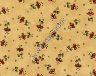 Tossed Flowers on Yellow - Why? Collection by Leanne Anderson - Henry Glass 8215-44 (sold by the 1/2 yard)