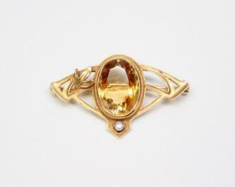 Art Nouveau 14k Citrine and Seed Pearl Brooch - Pin - Quartz