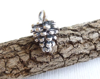 Rustic Sterling Silver Pine Cone Charm -- 1 Piece... Fall Pendant