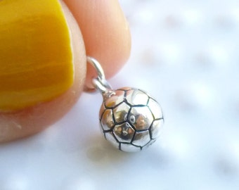 Sterling Silver Soccer Ball Charm -- 1 Piece... Fun 3-D Sports or Team Charm