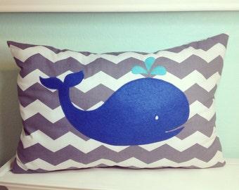 Appliquéd Whale Pillow (stuffed)