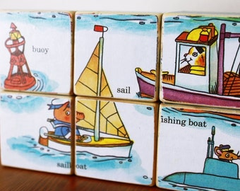 Wooden Puzzle Blocks, Richard Scarry Little Golden Book, Set of 6