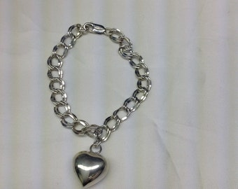 Vintage sterling silver double link charm bracelet with large puffed heart