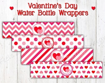 Valentine's Day Water Bottle Wrappers - Instant Download