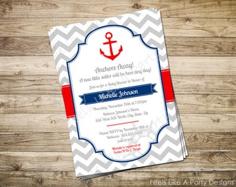 Custom Nautical Baby Shower Party Invite with Anchor