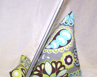 ipad Stand, iPad Dock, tablet, Gray, Aqua paisley, Fabric stand, iPhone stand, prop, Kindle, android