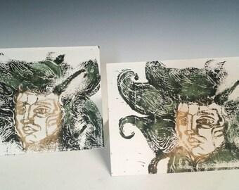 Vine goddess block printed card set of 2
