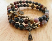 Golden Brown and Olive Jasper Five Decade Rosary Bracelet with Bronze Crucifix and Miraculous Medal