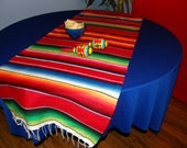 Touchdown!  BRIGHT RED SERAPE Cloth Table Runner - This is a true red.  Mixed with stripes of typical Mexican Colors -- Bring on the party!