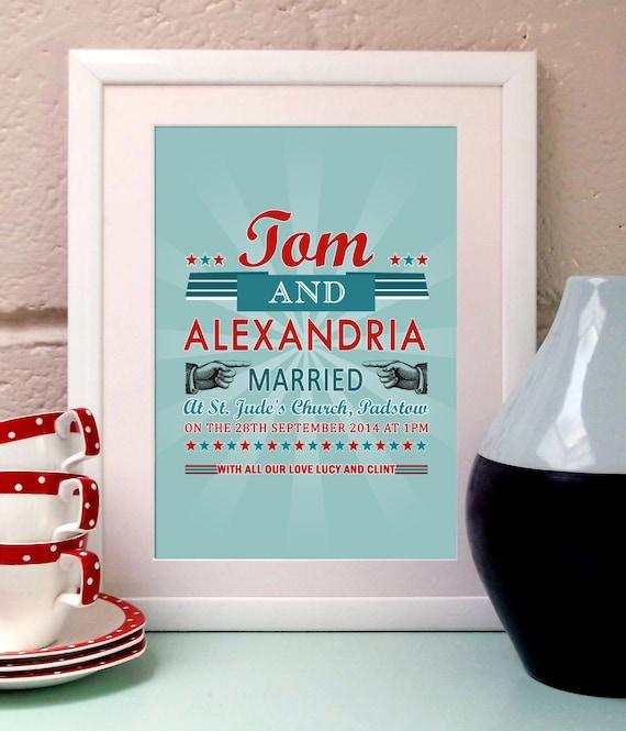 Personalised Wedding Gifts Vintage : Vintage Style Wedding typography art print. Wedding day gift. Retro ...