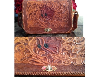 Handmade Brown Leather Purse/ Floral and Horse Carved Purse/ Floral Leather Purse/ Leather Handbag/ Brown Leather/ Green Suede/ Hand Carved
