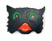 Halloween Black Cat by Luhrs, Vintage Collectible Home Decor, ca 1950