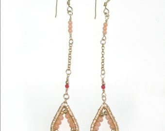 Gold filled, pink and red coral earrings.