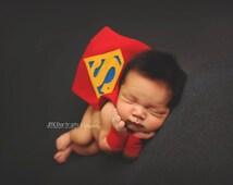 Superman Superhero Newborn Boy Costume - Photography Prop - Halloween - Superman - Custom Sizing - DC Comics