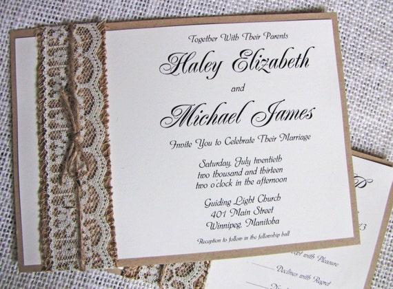 Rustic Lace Wedding Invitation Burlap Wedding Invitation – Rustic Lace Wedding Invitations