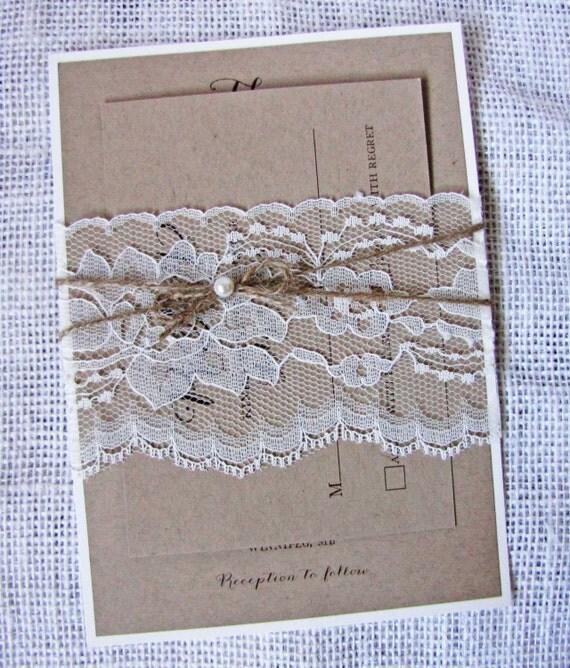 Cheap Rustic Wedding Invitation Kits: Items Similar To Wedding Invitation, Lace Invitation
