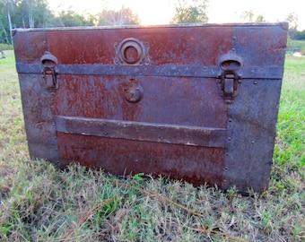 Antique Wood and Metal Steamer Trunk, vintage Travel Steamer Trunk, Flat Top Steamer Trunk
