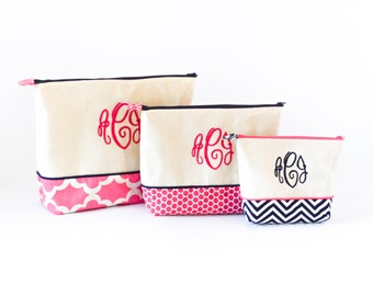 Medium, Large and Extra Large Set of Monogrammed Cosmetics Bag- Hot Pink and Navy