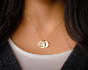 Large Two Initial Necklace - 14k Gold Filled Custom Initial Pendant, 15mm Discs, Three Initials or More Available too! Mommy Necklace