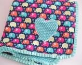 Elephant Parade - Baby minky ruffle blanket