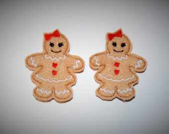 Set of 2 Gingerbread Girl Feltie Felt Embellishments