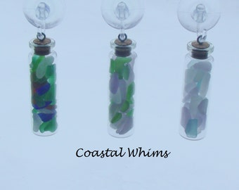 Custom Design Your Three Inch Tall Corked Bottle Sun Catcher Filled with Maine Sea Glass Mermaid Tears, Custom Sea Glass Sun Catcher Gift