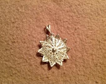 Vintage Sterling Silver Filagree Flower Pendant