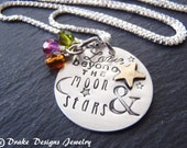love beyond the moon and stars necklace personalized mothers necklace mom birthstone necklace