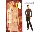 Anne Klein II Suit Pattern Vogue 1823 Size 6-8-10 Bust 30.5-32.5 Semi Fitted Hip Length Jacket A Line Skirt Tapered Pants 90s Pattern Uncut