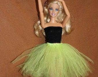 Light green tutu skirt for Barbie doll