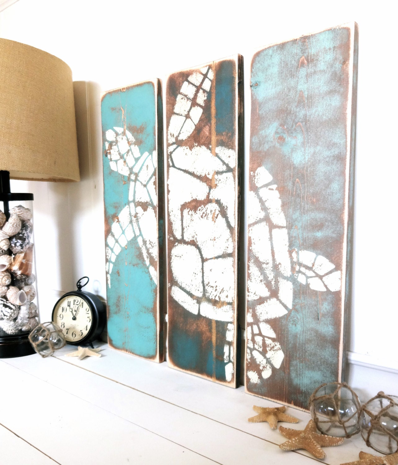 Meet me bye the sea vintage honu for Coastal wall decor ideas