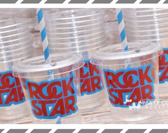 Rockstar themed Birthday Party, Set of 8 or 12 You Choose Party Cups, Favor Cups or Reusable Souvenir Cup